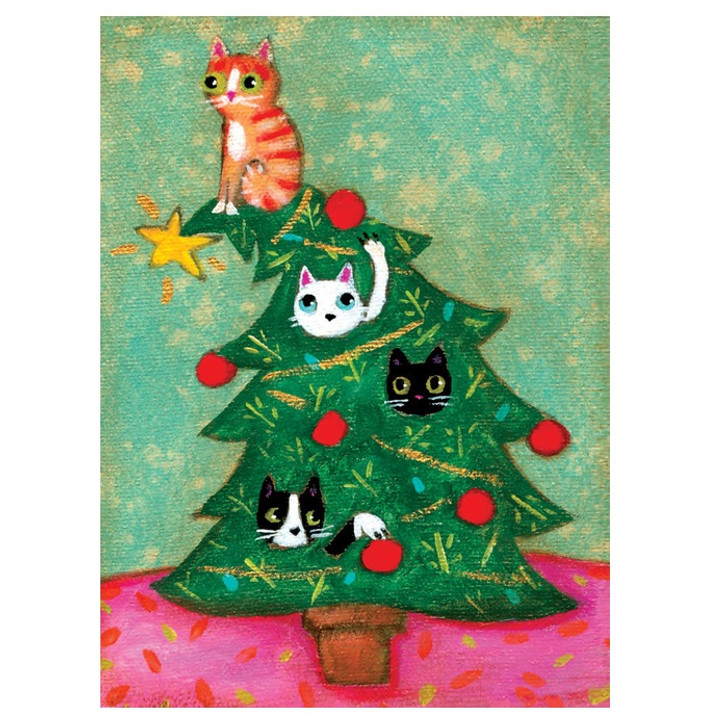 Cats in Christmas Tree Mini Boxed Holiday Cards