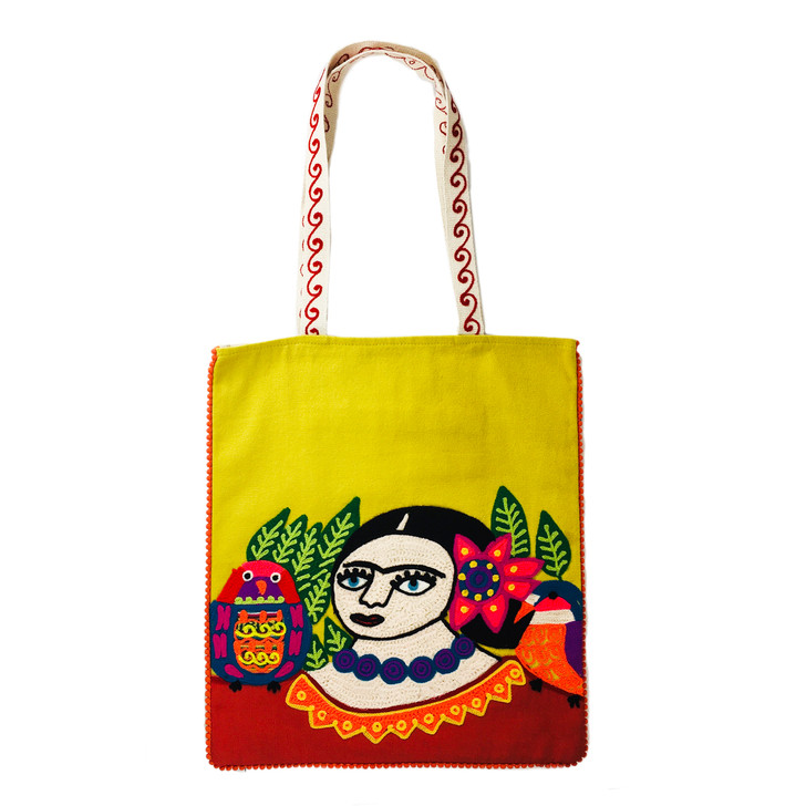 Woman with Parakeet & Flower, Tote Bag