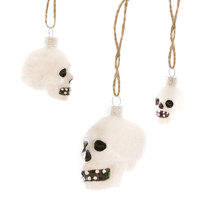 Mini Glass Skull Ornaments, Assorted Styles