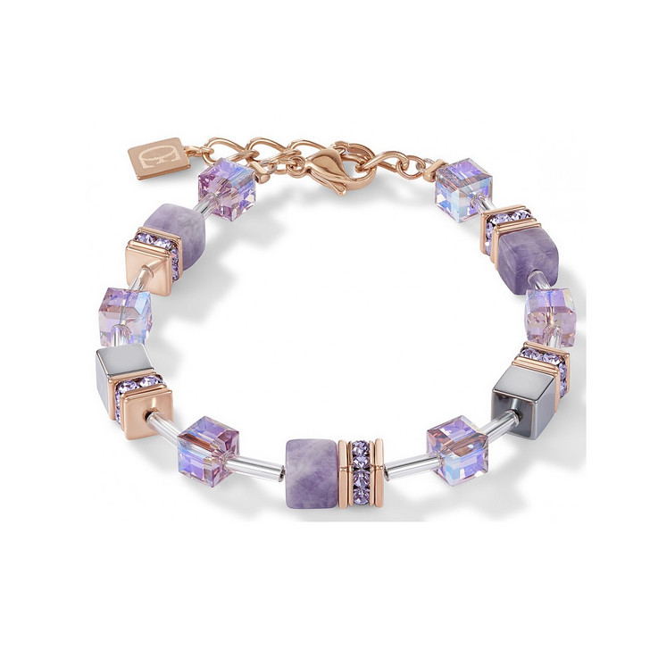 Mauve Swarovski Hematite Cube Bracelet