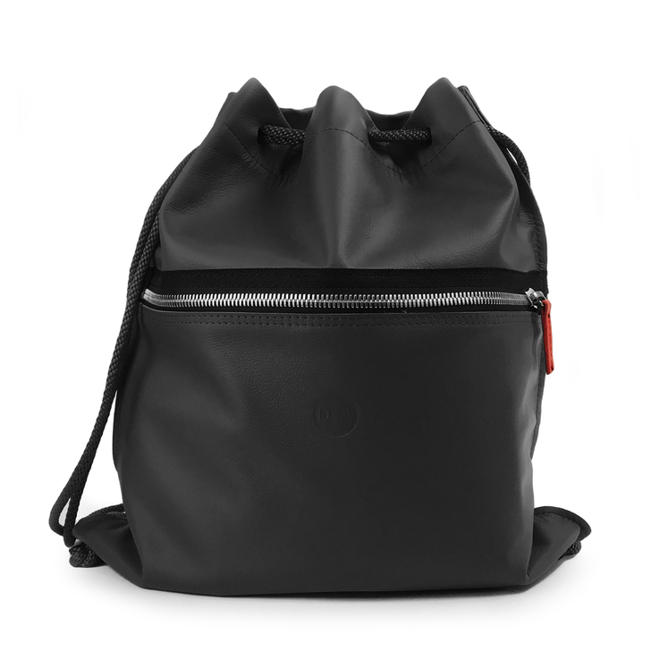 DIA Black Leather Drawstring Backpack