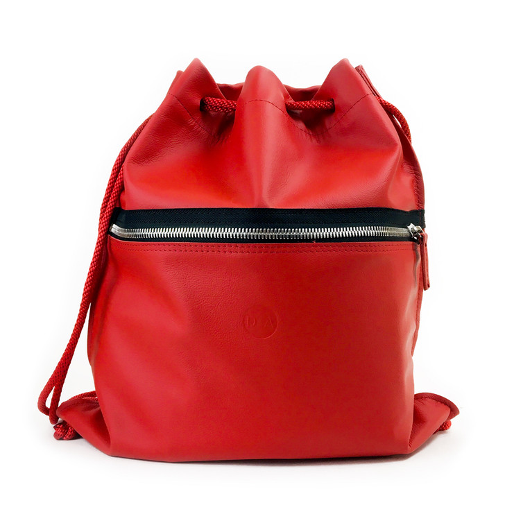 DIA Red Leather Drawstring Backpack
