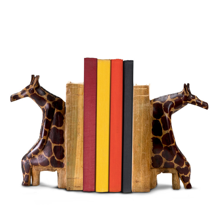 Sitting Giraffe Hand Carved Bookends
