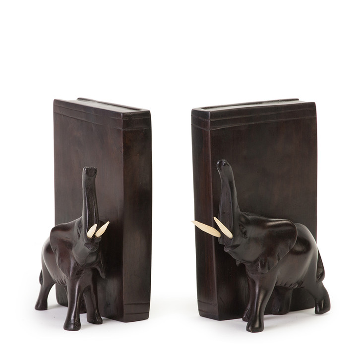 """8"""" Elephant Wood Bookends"""