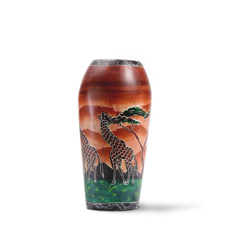 """Soapstone Vase """"Giraffes at Dusk"""""""