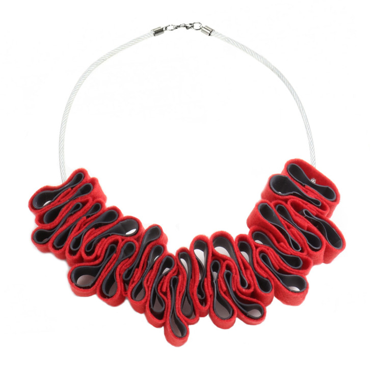 Red Felt and Rubber Ribbon Necklace