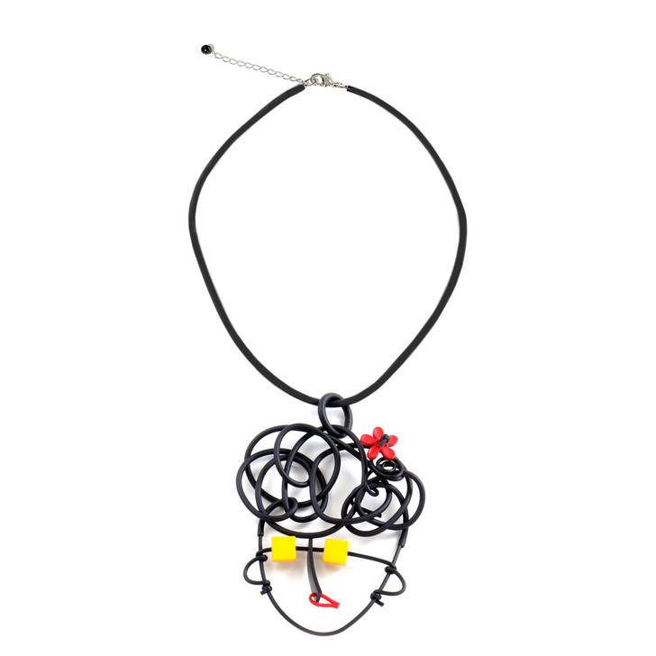 Abstract Face Rubber Necklace