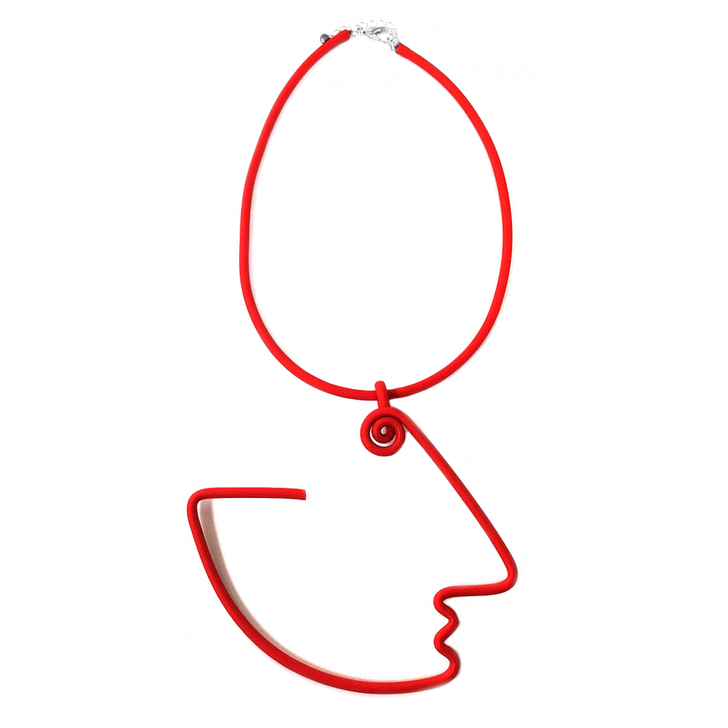 Abstract Face Rubber Necklace, Red