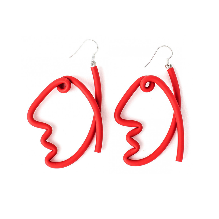 Abstract Face Rubber Earrings, Red