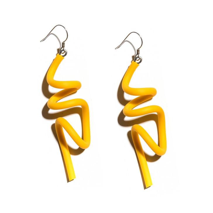Yellow Wave Earrings