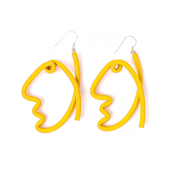 Abstract Face Rubber Earrings, Yellow
