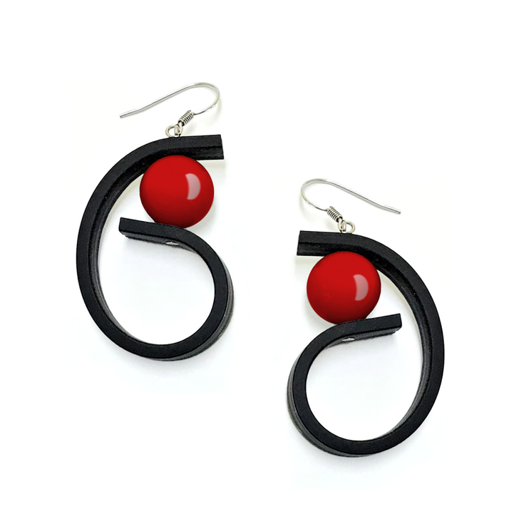 Curl rubber Earrings with Red Bead