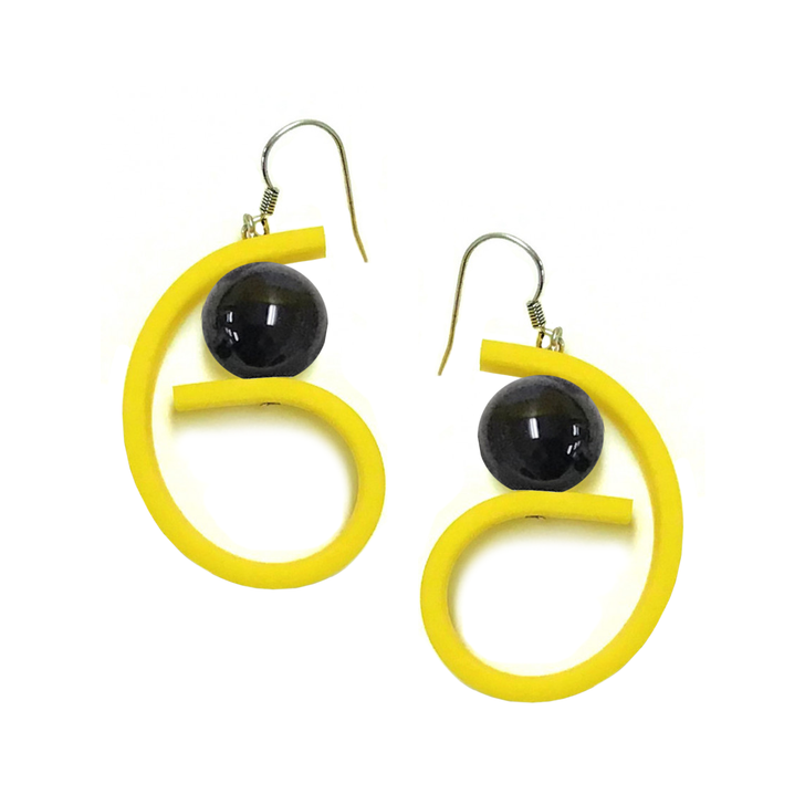 Yellow Rubber Curl with Black Bead Earrings