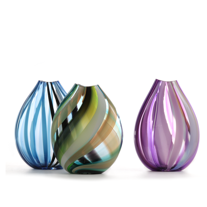 Carved Glass Vase,  Assorted Colors