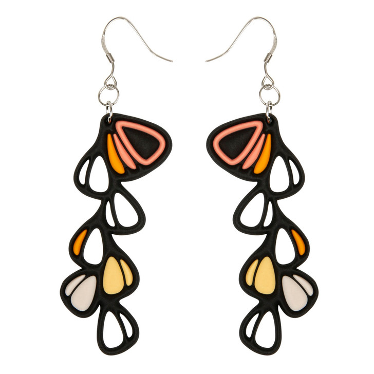 Dahlia Earrings, Peach