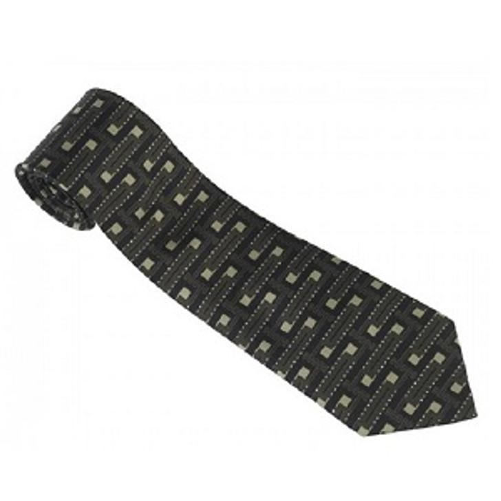 Frank Lloyd Wright Textile Block Design Tie Black
