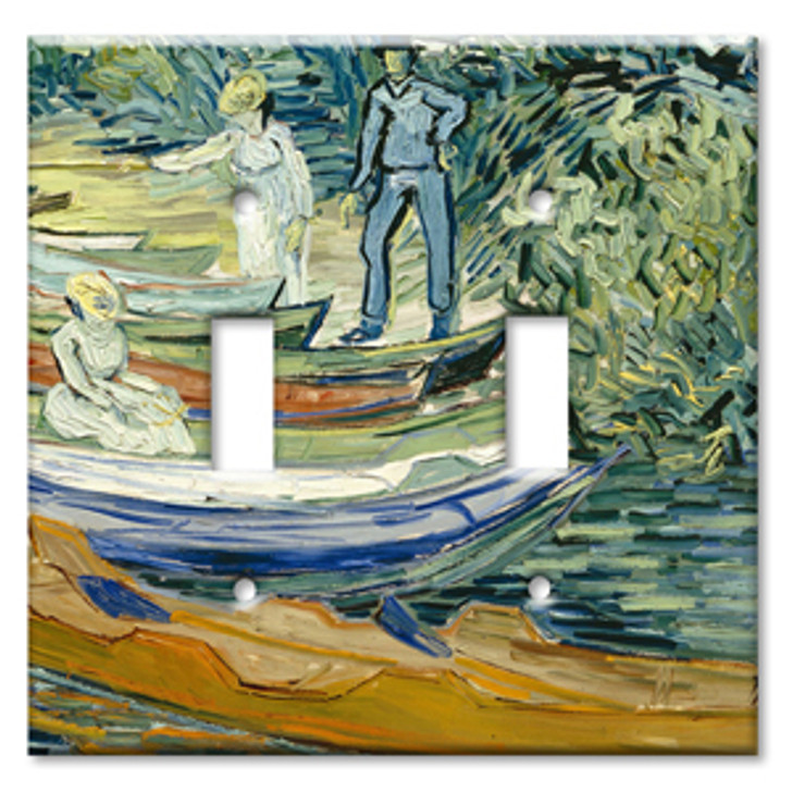 Switch Plate Double Van Gogh Bank of the Oise