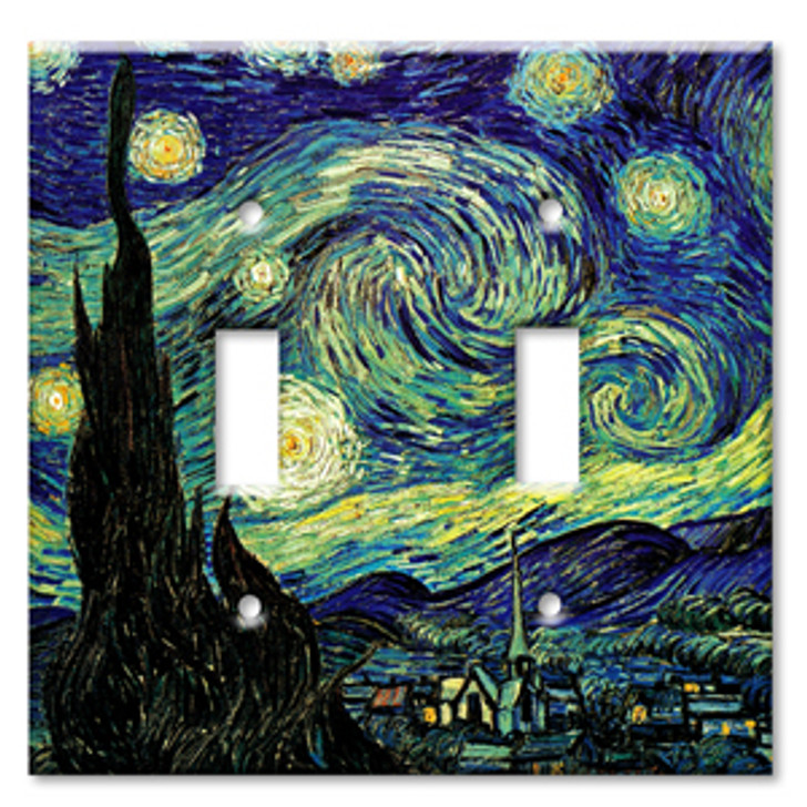 Switch Plate Double Van Gogh The Starry Night