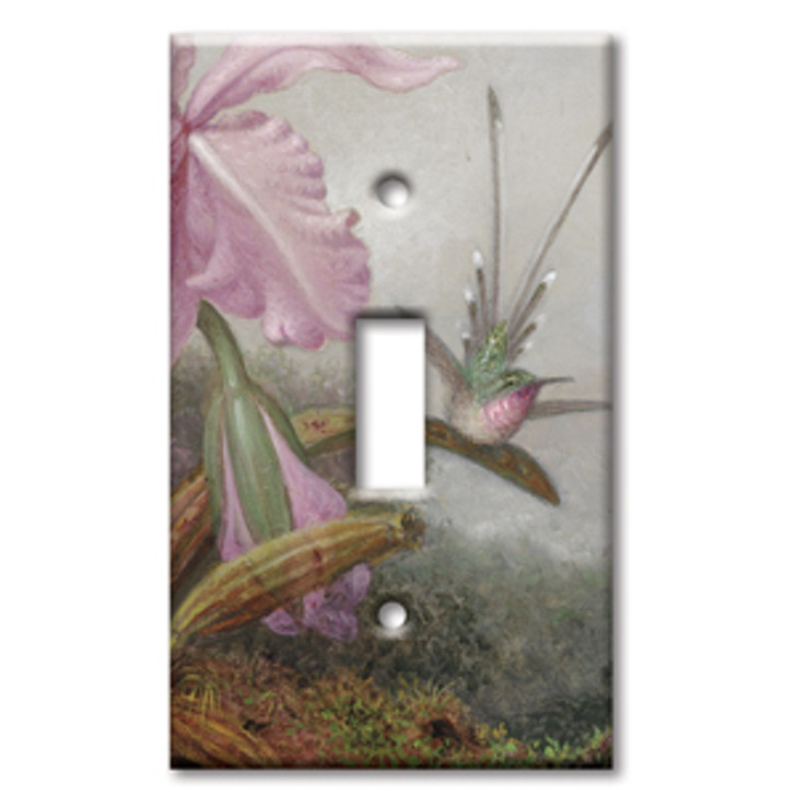 Switch Plate Single Heade Orchids and Hummingbirds