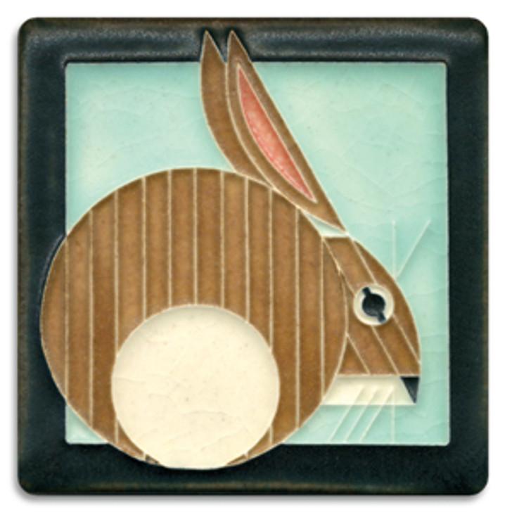 Motawi Tileworks Charley Harper Hare Tile Light Blue 4x4