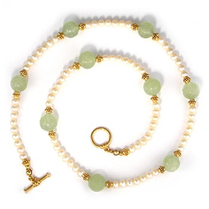 Jade Dragon Bead & Pearl Necklace