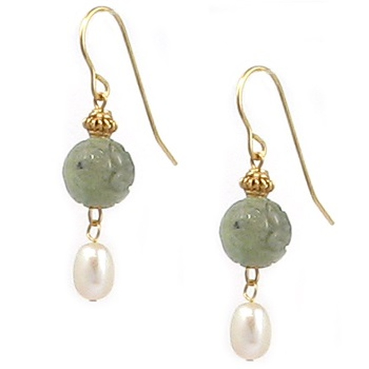 Jade Dragon Bead & Pearl Earrings