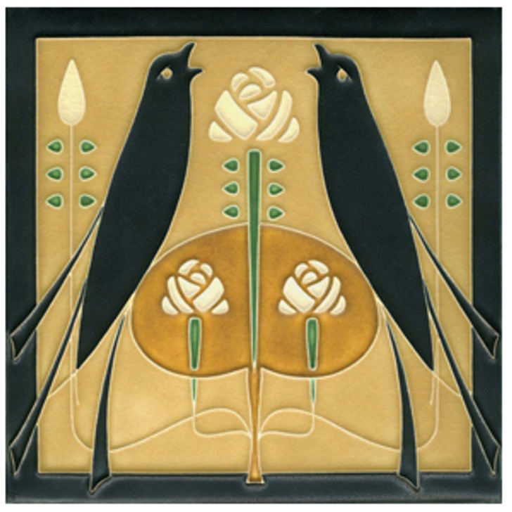 Motawi Tileworks Songbirds Tile Golden