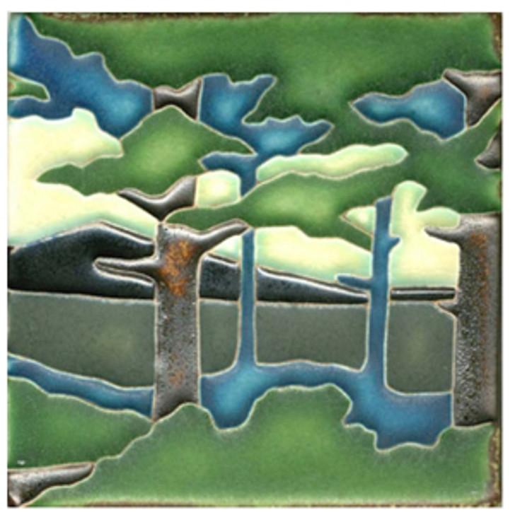 Motawi Tileworks Pine Landscape Mountain Summer Tile