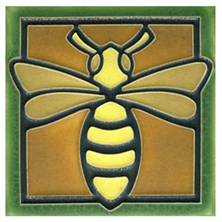 Motawi Tileworks Bee Tile Green 4x4