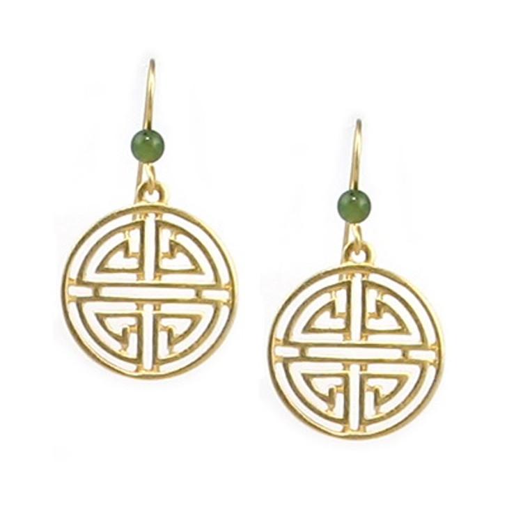 Shou Symbol with Jade Earrings
