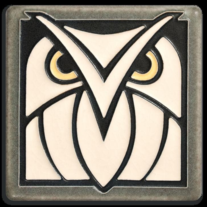 Motawi Tileworks Owl Tile Grey White