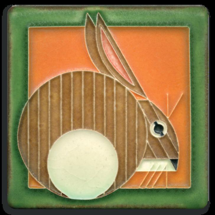 Motawi Tileworks Charley Harper Hare Tile Carrot 4x4