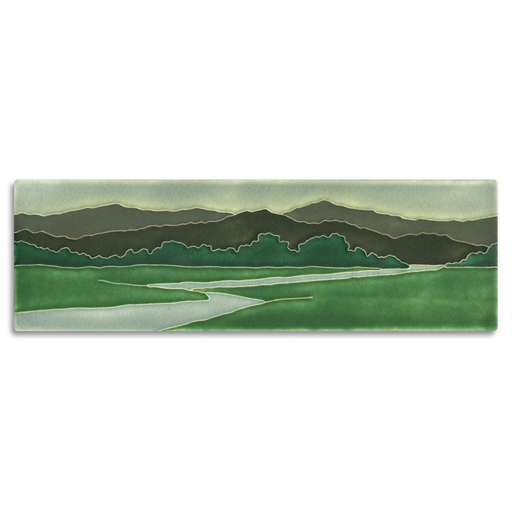 Motawi Tileworks Green Riverscape Tile 4x12