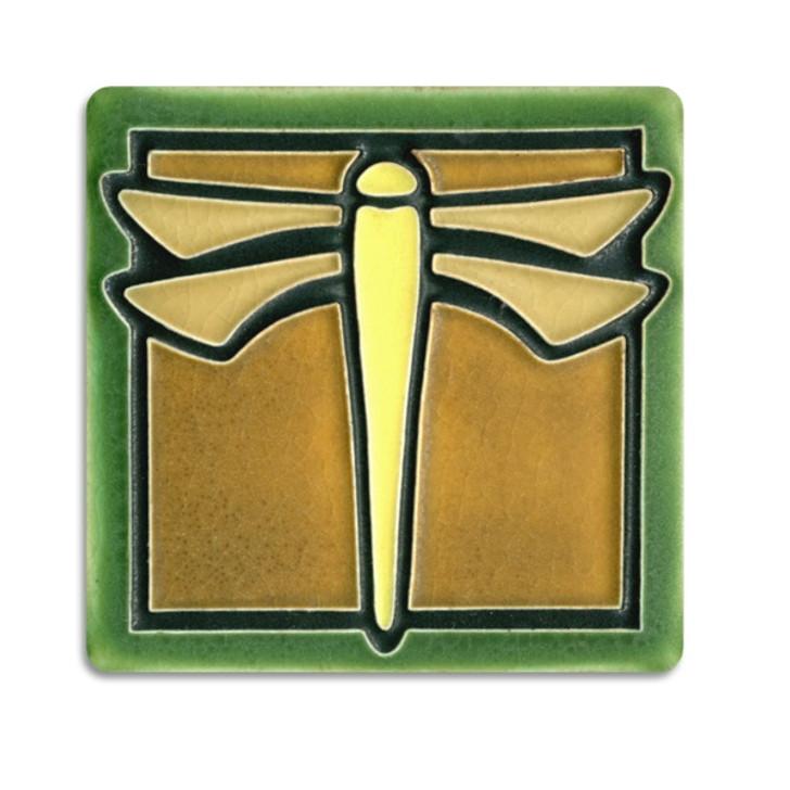 Motawi Tileworks Dragonfly Tile Green 4x4