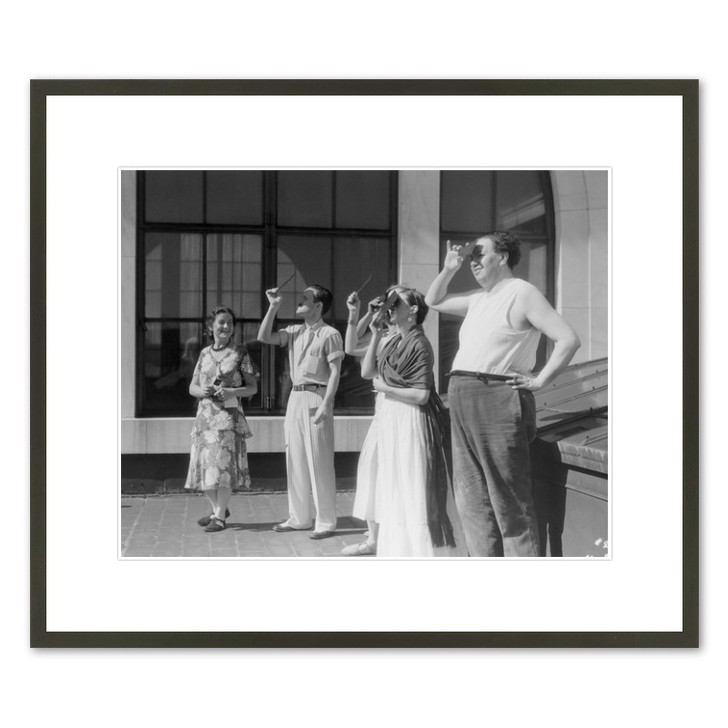 Frida Kahlo and Diego Rivera Watching an Eclipse on the DIA Roof 16 x 20 Framed Print