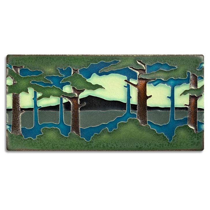 Motawi Tileworks Pine Landscape Summer Tile (Horizontal) 4x8