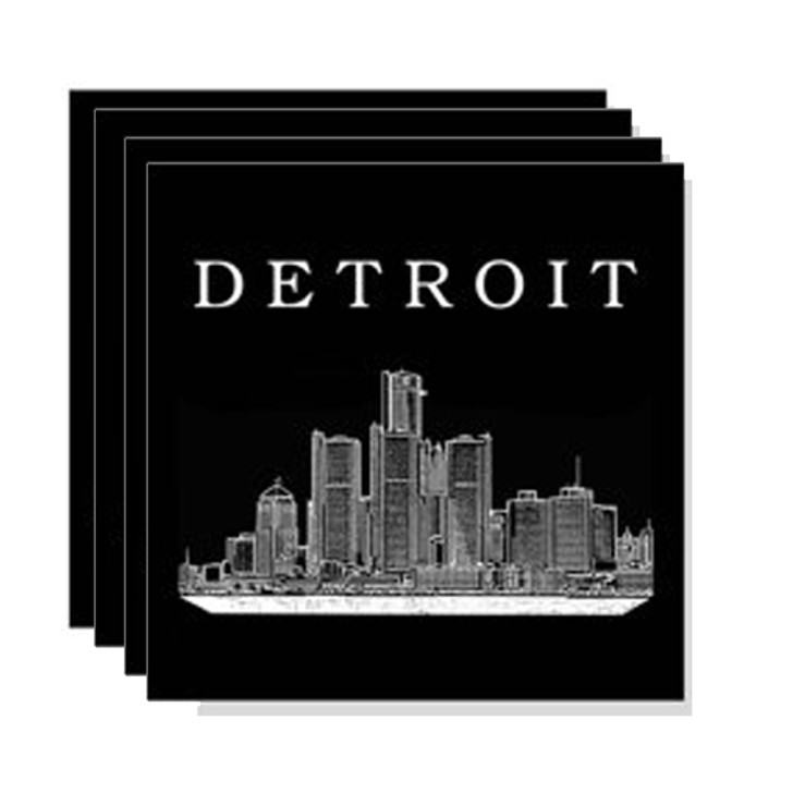 Detroit Skyline Recycled Tire Coasters