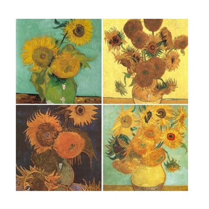 Van Gogh's Sunflowers Stone Coaster Set