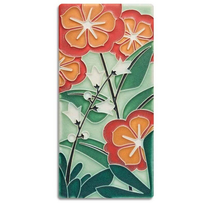 Motawi Tileworks Starry Flowers Tile Green 4x8