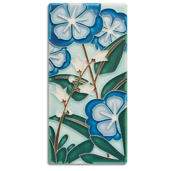 Motawi Tileworks Starry Flowers Tile Blue 4x8