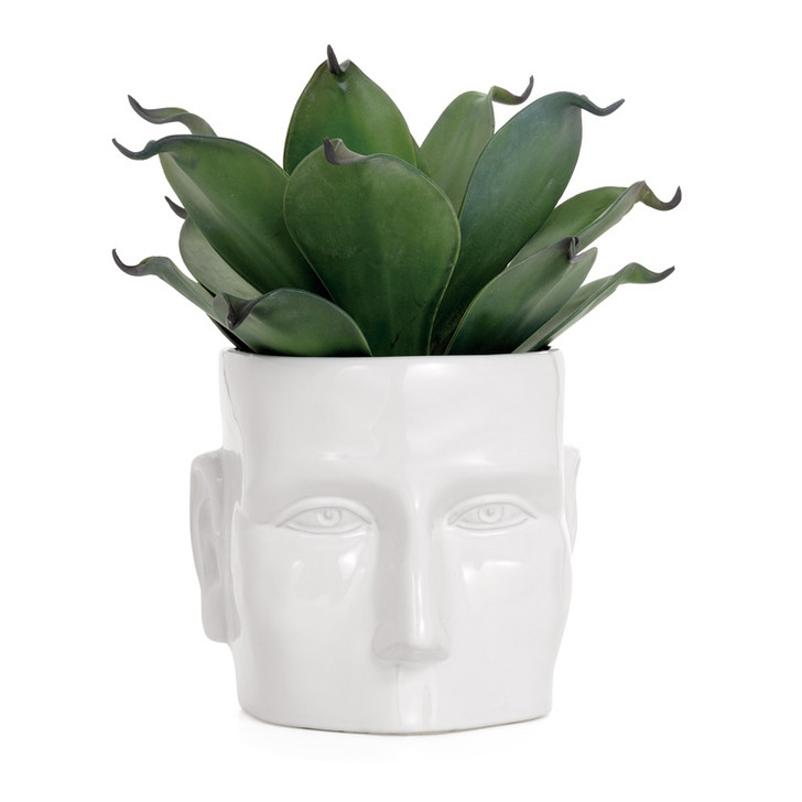 Face Vase White Ceramic Pot Large