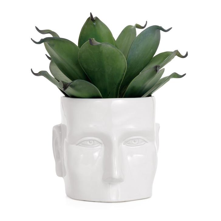 Face Vase White Ceramic Pot Large