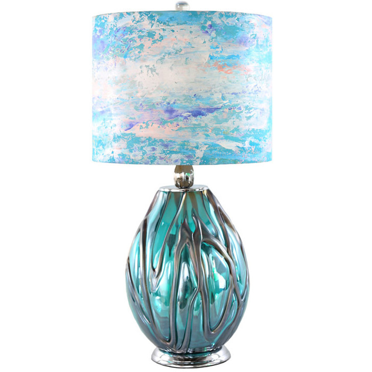 Morning Glory Handpainted Shade & Blown Glass Base Table Lamp