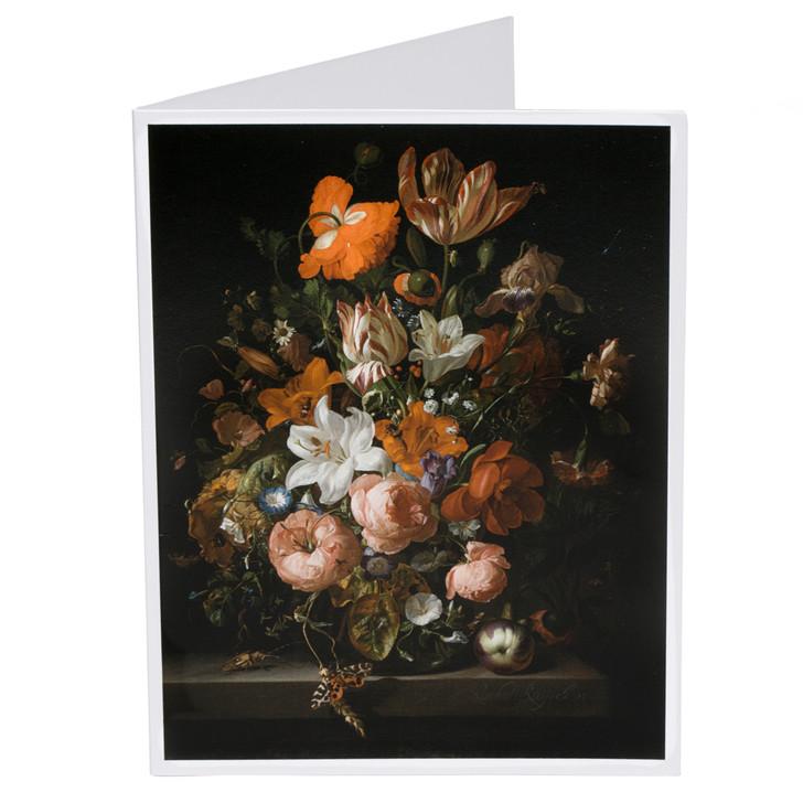 Rachel Ruysch Flowers in a Glass Vase Single Note Card