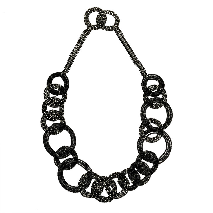 Maasai Beaded Necklace: Chanel Black/Pewter