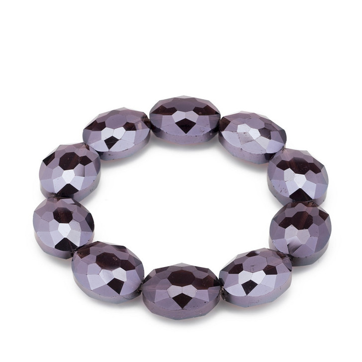 Tanzanite Oval Faceted Crystal Stretch Bracelet