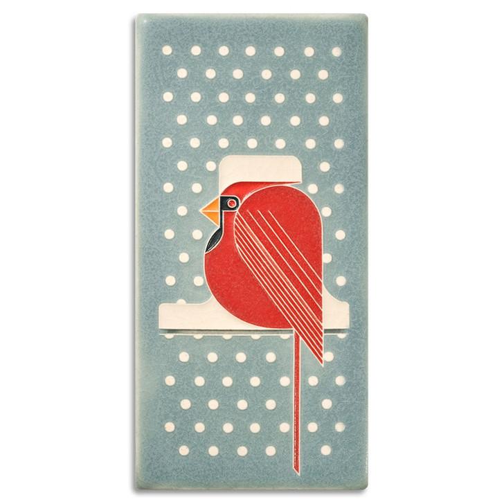 Motawi Tileworks Charley Harper Cool Cardinal Tile 4x8