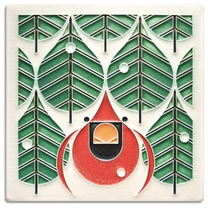 Motawi Tileworks Charley Harper Coniferous Cardinal Tile 6x6