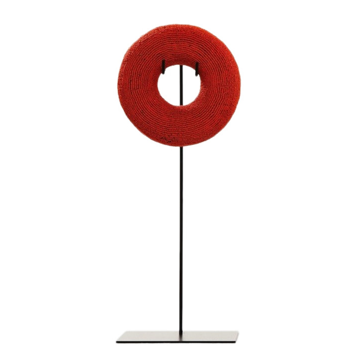 Beaded Circle Sculpture Red