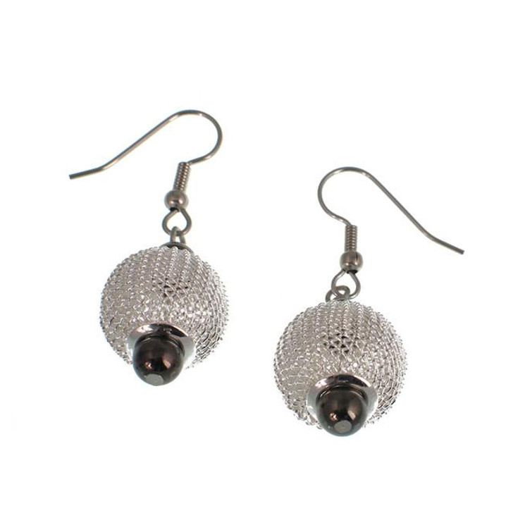 Silver Mesh / Nickel Bead Drop Earrings